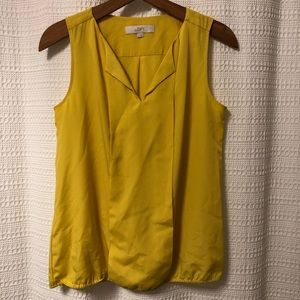 LOFT Yellow Polyester Sleeveless Blouse Small